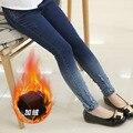 Padrão Crianças de Jeans Outono Inverno Adorável de Alta Qualidade Adicionar Lã Calças Crianças Coringa Casuais Trouses Calça Jeans Bebê Meninas
