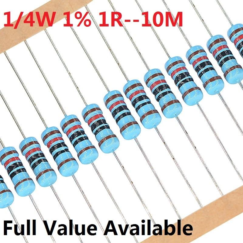 Металлический пленочный резистор, 100 шт., 1/4 Вт, 1R--10M +-1%, 10K Ом, 10K, 4,7 k, 2,2 K, 1K, 100K, 0,25 Вт, 0R 3/4/5/6/7/бесплатная доставка 8/9.1.2.3.4.5.6.7/R/K