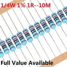 Resistor de filme de metal com 100 peças, resistor de filmes de metal de 1/4w, 1r--10m +-1% 10k ohm 10k, navio grátis 4.7k 2.2k 1k 100k 0.25w 0r 3/4/5/6/7/8/9. «r/k/k