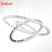 Modern LED Chrome Chandelier pendant lamp fixture Crystal suspension luminaire led ring Chandeliers lighting colgante Lustre