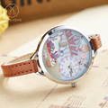 Miss Keke Ladies Clay 3D Carousel Designer Cartoon Watches Women Retro Quartz Leather Bracelet Clock Waterproof Wrist Watch 910