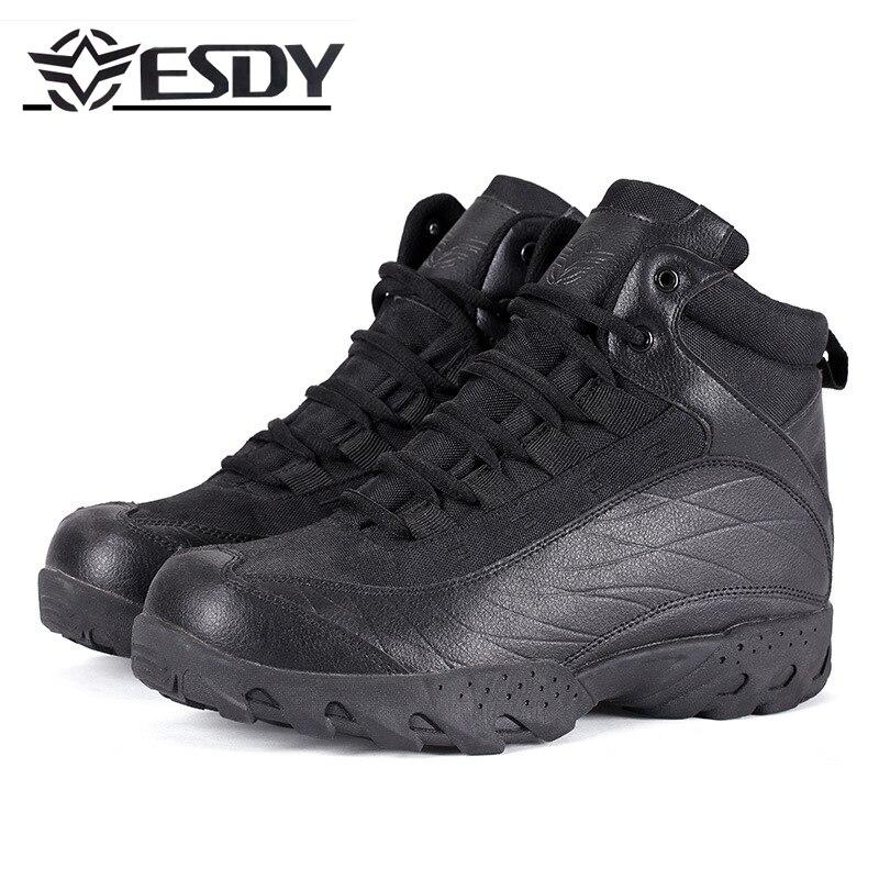Haute qualité 2019 marque ESDY Jungle désert couteau extérieur bottes de Combat militaire en cuir véritable bottes hommes randonnée chaussure tactique