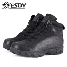 High Quality 2017 Brand ESDY Jungle Desert outdoor Knife Combat Boots Military Genuine Leather boots Men Hiking Tactical Shoe