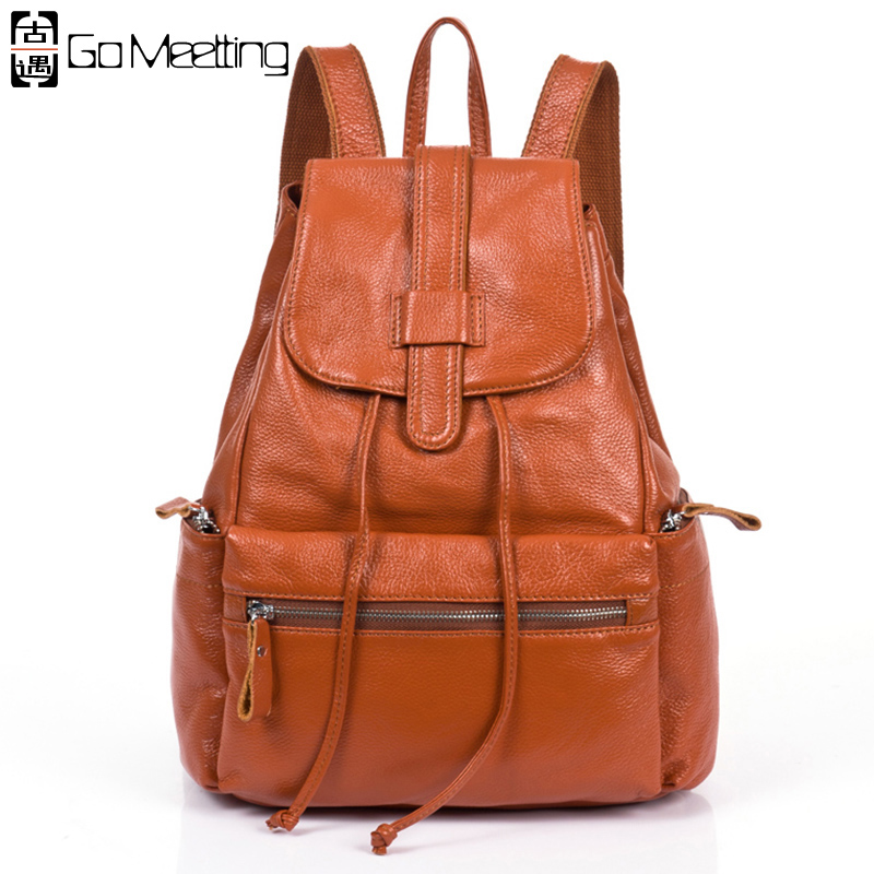 Go Meetting Brand Genuine Leather Women's Backpacks High quality Cow Leather Women School Shoulder Bag Hot Sales Travel Backpack go meetting fashion women waterproof oxford backpack famous designers brand shoulder bag leisure travel backpacks for girl
