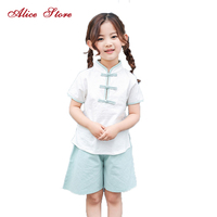 2017 New Summer Girls Linen Chinese Style Clothing Sets Children's Three buttons Chinese College Girls Clothes Top + Shorts 2PCS