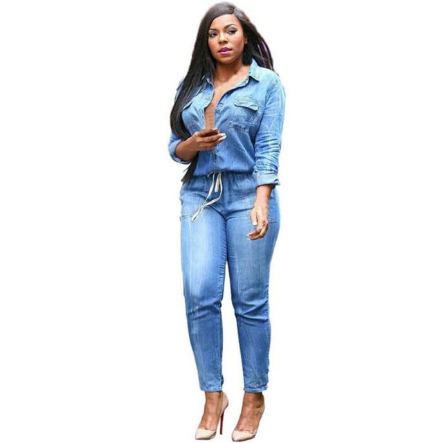 Feitong Fashion Jeans Women Sexy Slim Women Pants Feminino Spring Lady Denim Jumpsuit Long-Sleeved Trousers macacao Plus Size