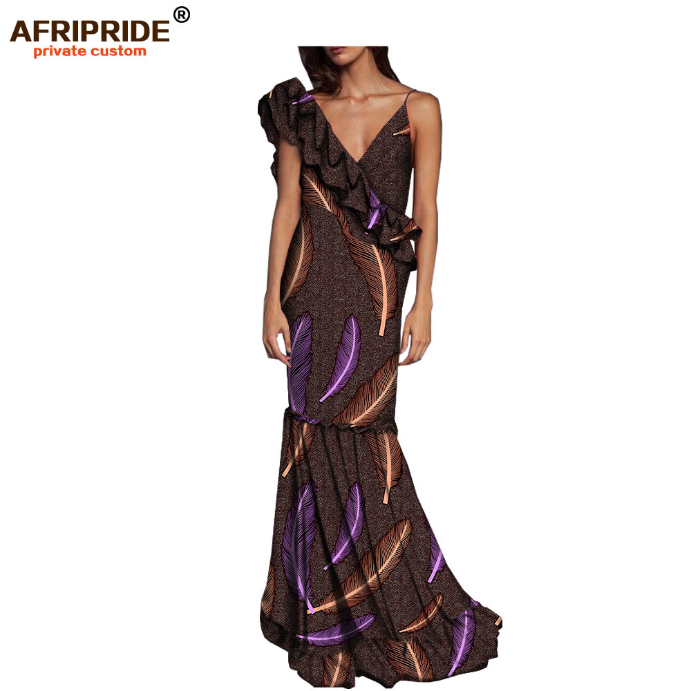 2018 african formal party dress for women AFRIPRIDE sleeveless deep v neck spaghetti strap floor length ruffles dress A7225142 in Dresses from Women 39 s Clothing