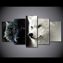 Black White Wolf Couple Painting Wall Pictures for Living Room