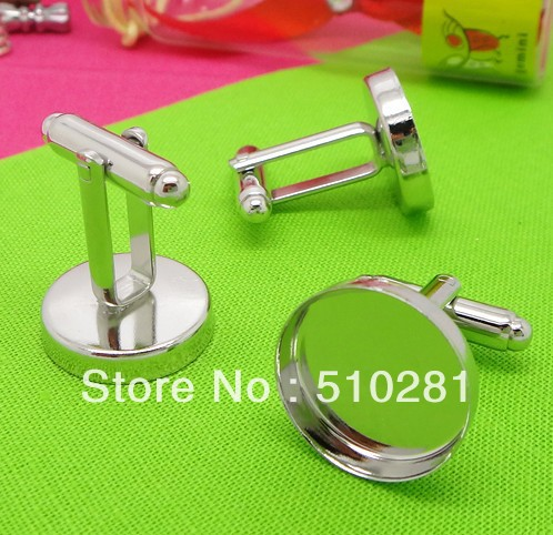 French Cufflinks Jewelry-Accessories Copper-Plating White Wholesale Diy 16-Mm Bottom-Tray