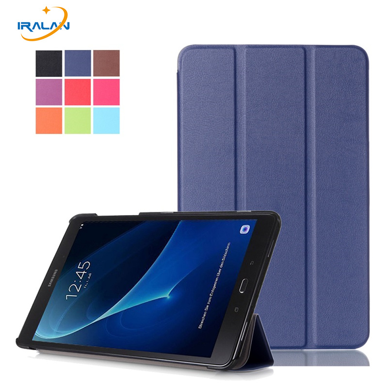 2018 Slim Magnetic 3 Folding Flip PU Case Cover for Samsung Galaxy Tab A 10.1 2016 T580 T585 T580N T585N Skin Case + Film + Pen