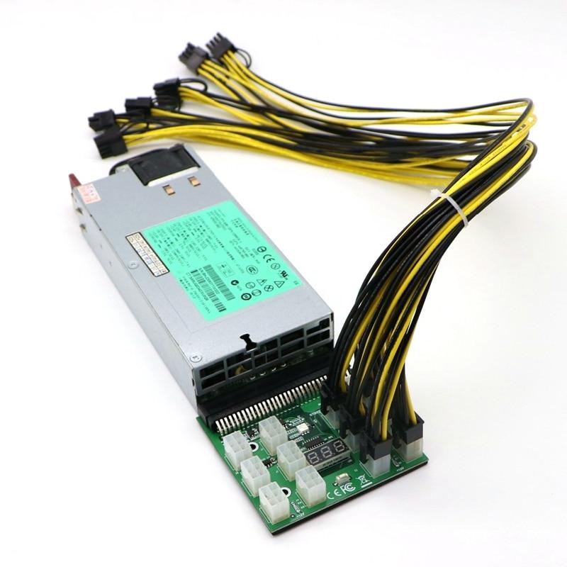 GPU Mining Power Supply Kit - Platinum 1200W PSU DPS-1200FB-1 A, Breakout Board, 12pcs PCI-E 6Pin Cables psu gpu power adapter breakout board 12v ethereum eth zec devices mining power supply 12pcs 18awg pci e 6pin to 6 2pin cables
