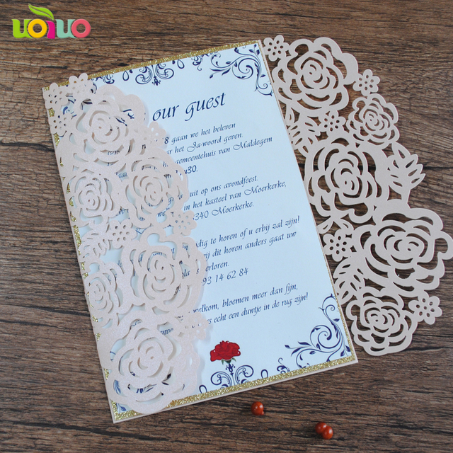 30 laser cut rose flower birthday invitations card meeting party
