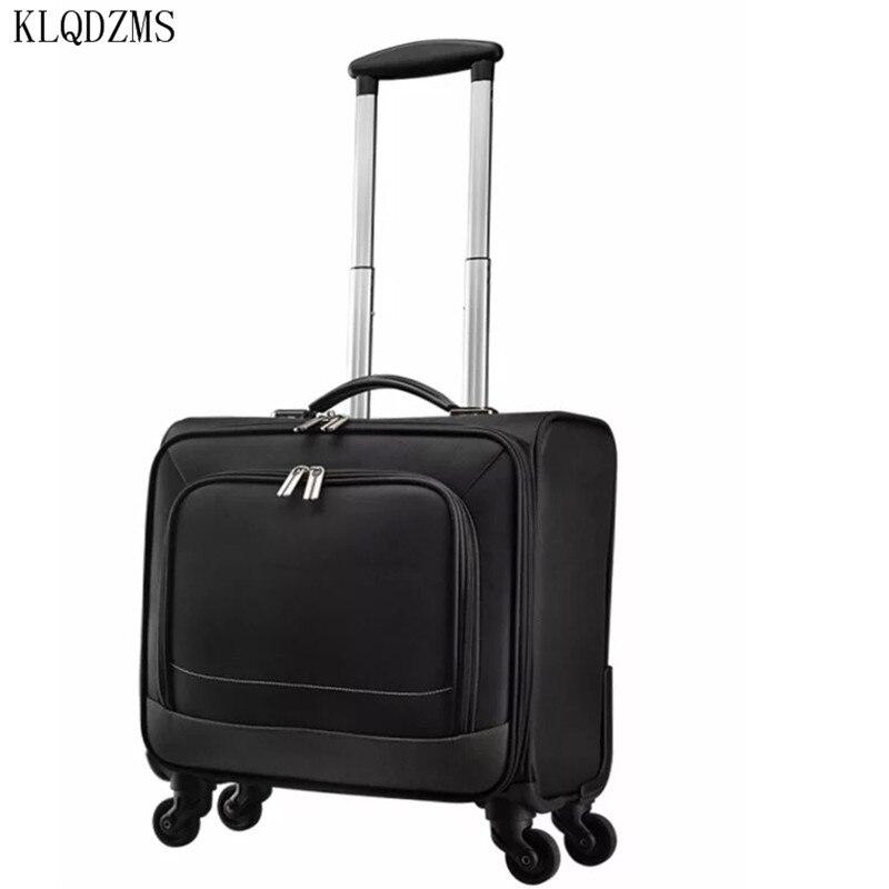 KLQDZMS 16 polegada impermeável pano oxford carry ons homens de negócios mulheres mala de viagem da bagagem rolando bagagem spiner sobre rodas