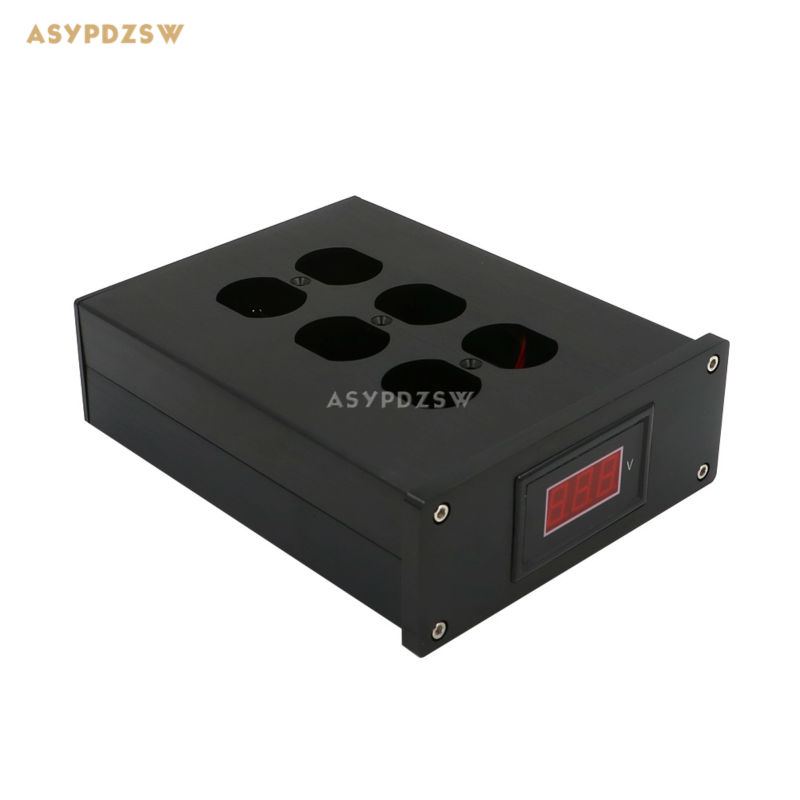 Full aluminum HIFI US AC Power Distributor 6 outlet Power supply box With voltage display chassis nobsound hi end audio noise power filter ac line conditioner power purifier universal sockets full aluminum chassis