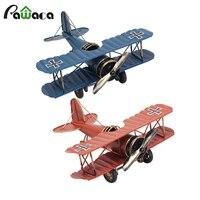 Retro Biplane Model Home Decor Metal Plane Model Iron Aircraft Glider Biplane Pendant Airplane Figurines Status