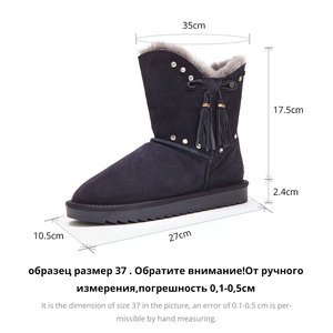 Image 5 - GOGC Fur Genuine Leather Winter Shoes Women Wool Crystal  Winter Boots Women Brand New Womens Boots for Winter Female Shoe 9843