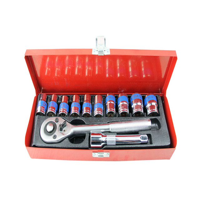 12  Socket Sets Car Repair Tool Ratchet Wrench Set Cr-v hand tools Combination Bit Set Tool Kit tool box