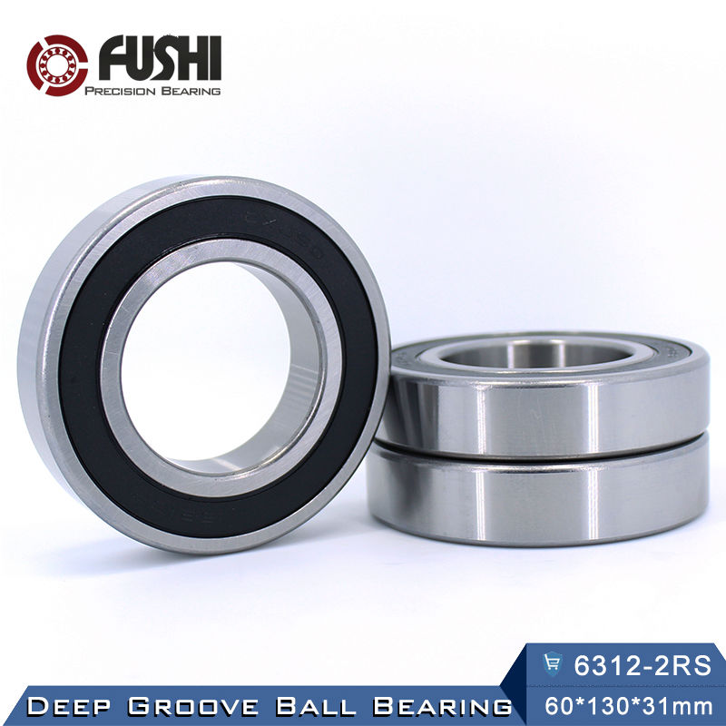 6312RS Bearing ABEC-3 (1 PCS) 60*130*31 mm Deep Groove 6312-2RS Ball Bearings 6312RZ 180312 RZ RS 6312 2RS EMQ Quality купить