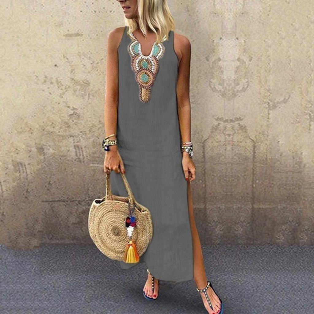 Сарафан женское Макси-Платье рубашка Femme ZANZEA сексуальное с v-образным вырезом Vestidos 2019 летнее пляжное вечернее платье без рукавов оверсайз