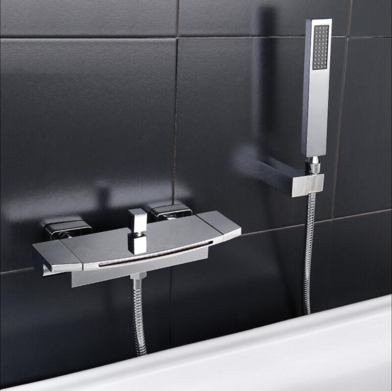 HTB1utQzXoT1gK0jSZFhq6yAtVXaA Wall Mounted Brass Bathroom Gold Waterfall Bathtub Faucet set Square hand held Shower Faucet Sets Bathtub Faucet Set