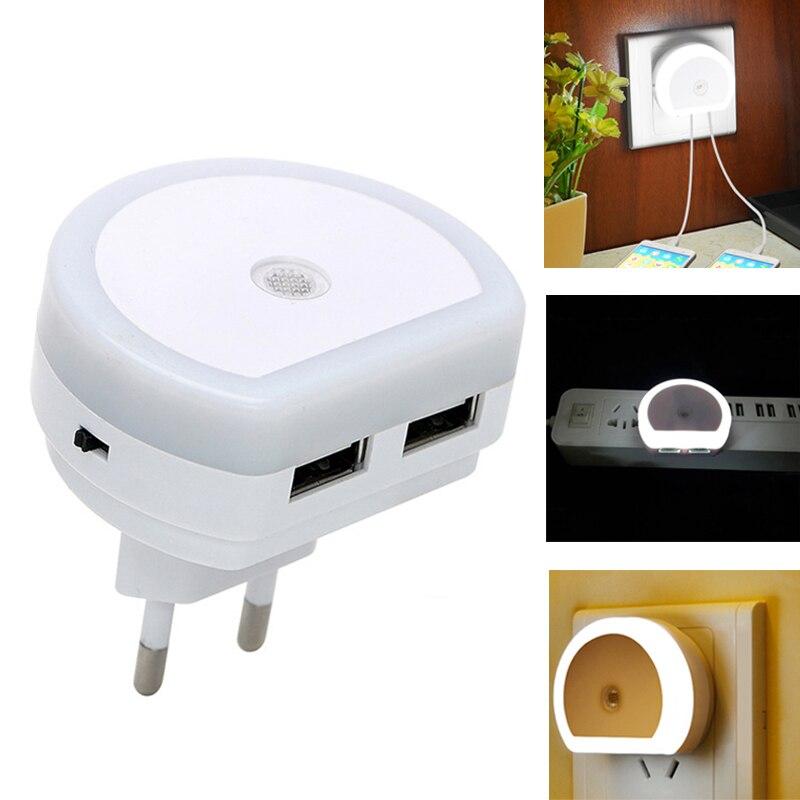 Veilleuse LED avec double Port USB chargeur de téléphone prise murale EU/US prise de contrôle du capteur de lumière capteur jour et nuit applique murale