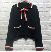 France style women's elegant knitting coat 2019 spring bowtie cardigans coat G062