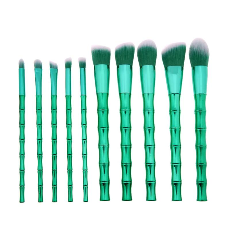 10pcs Green Bamboo Handle Makeup Brushes Set Soft Synthetic Hair Eyeshadow Foundation Cosmetic Beauty Make Up Brush Tools Kit addfavor acrylic handle beauty cosmetic face clean mask brushes eyes skin care make up tools soft makeup synthetic hair brush
