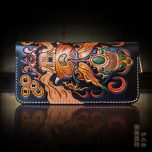 Hong Kong OLG.YAT Handmade leather carving Chiwen wallet  zipper clutch hand bag  men  Multi-function vintage  purse