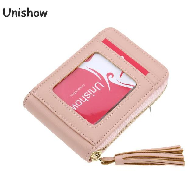 Unishow Tel Women Card Holders Female Business Holder Pu Leather Credit Wallet Small