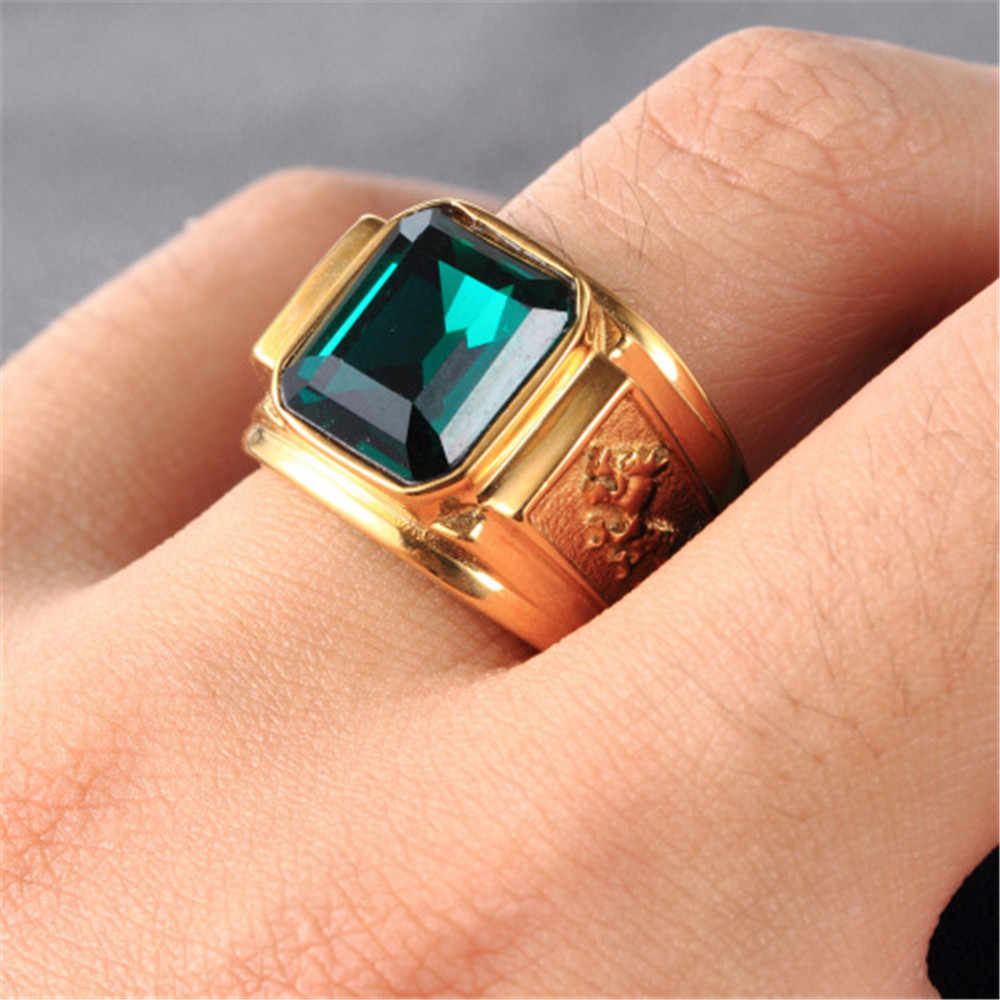 Vintage Fashion Gold/silver Color Big Red Black Green Blue Stone Square Gold Color Alloy Men RinG Engraved Dragon Male Rings