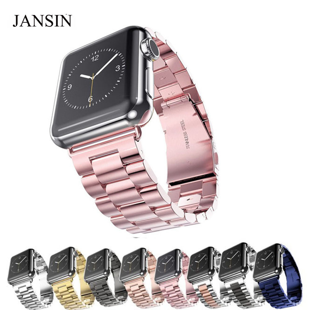 JANSIN Luxury Stainless Steel metal band Strap for apple watch 3/2/1 42 38 mm link bracelet wrist belt Watchband for iWatch band
