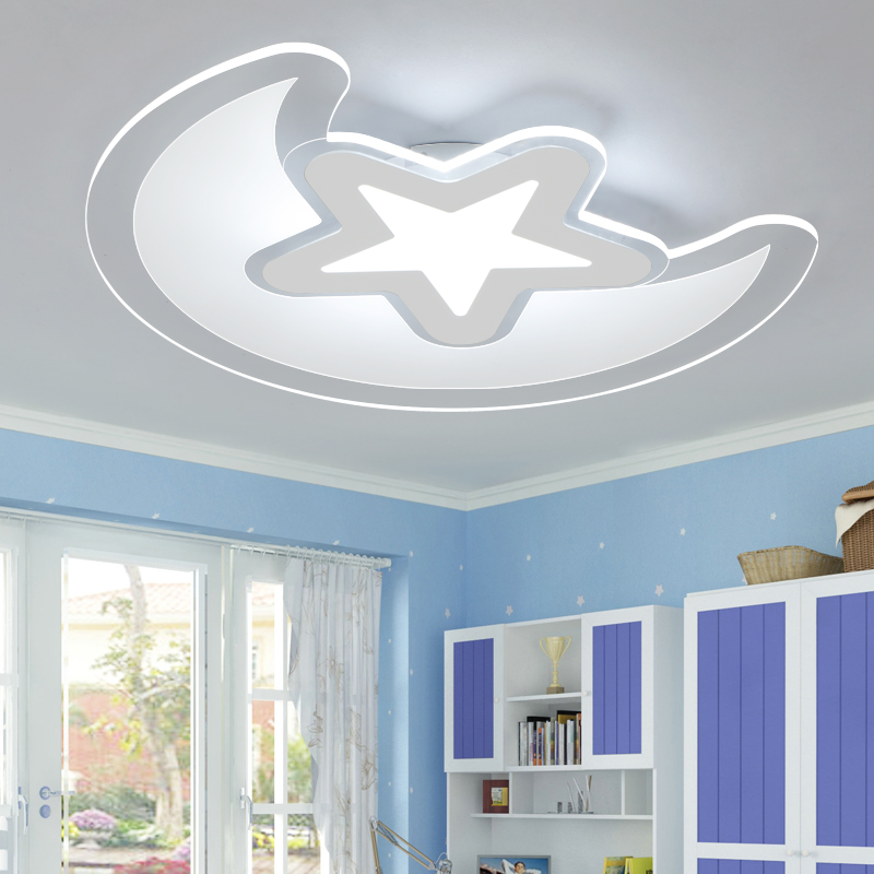 Star moon light romantic cartoon bedroom light LED boy girl room lighting creative cartoon baby cute led act the role ofing boy room bedroom chandeliers children room roof plane light absorption