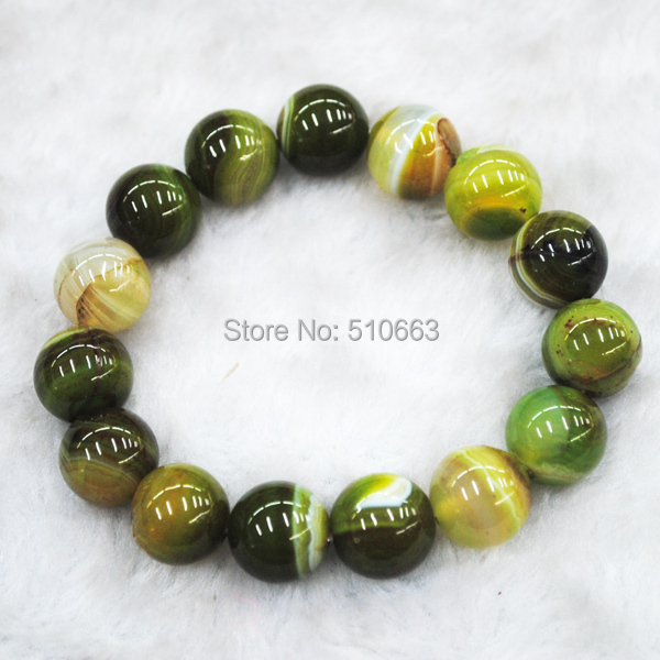 1 Pieces/Lot,Nature Green Lace Agate Stone Bracelet, Fit Sterling Silver Men Jewelry,Size: 14mm, Fashion Jewelry in 2014
