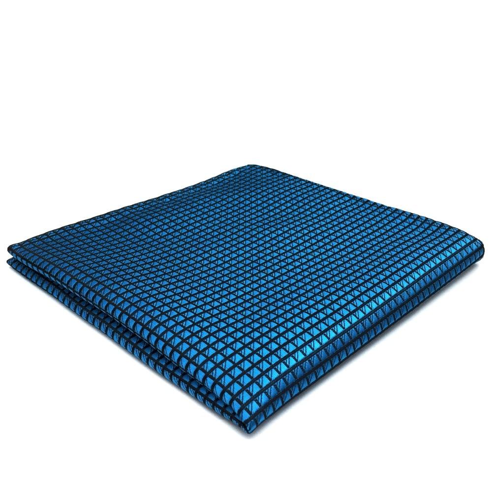 BH25 Solid Blue Silk Mens Pocket Square Fashion Wedding Handkerchief Hanky