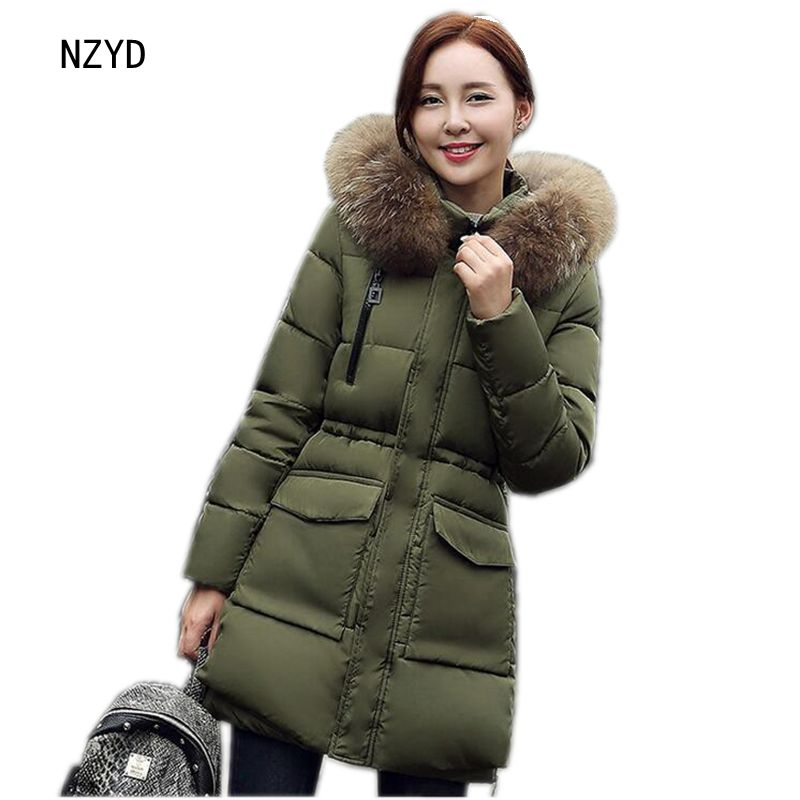 Women Winter Jacket Down 2017 New Fashion Hooded Thick Super warm Medium long Coat Casual Slim Big yards Female Parkas LADIES254 women winter parkas 2017 new fashion hooded thick warm patchwork color short jacket long sleeve slim big yards coat ladies210