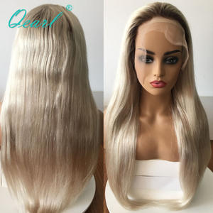 Wig Human-Hair Small-Cap Qearl Size-Ash-Blonde Lace-Front Brazilian Ombre-Color Straight