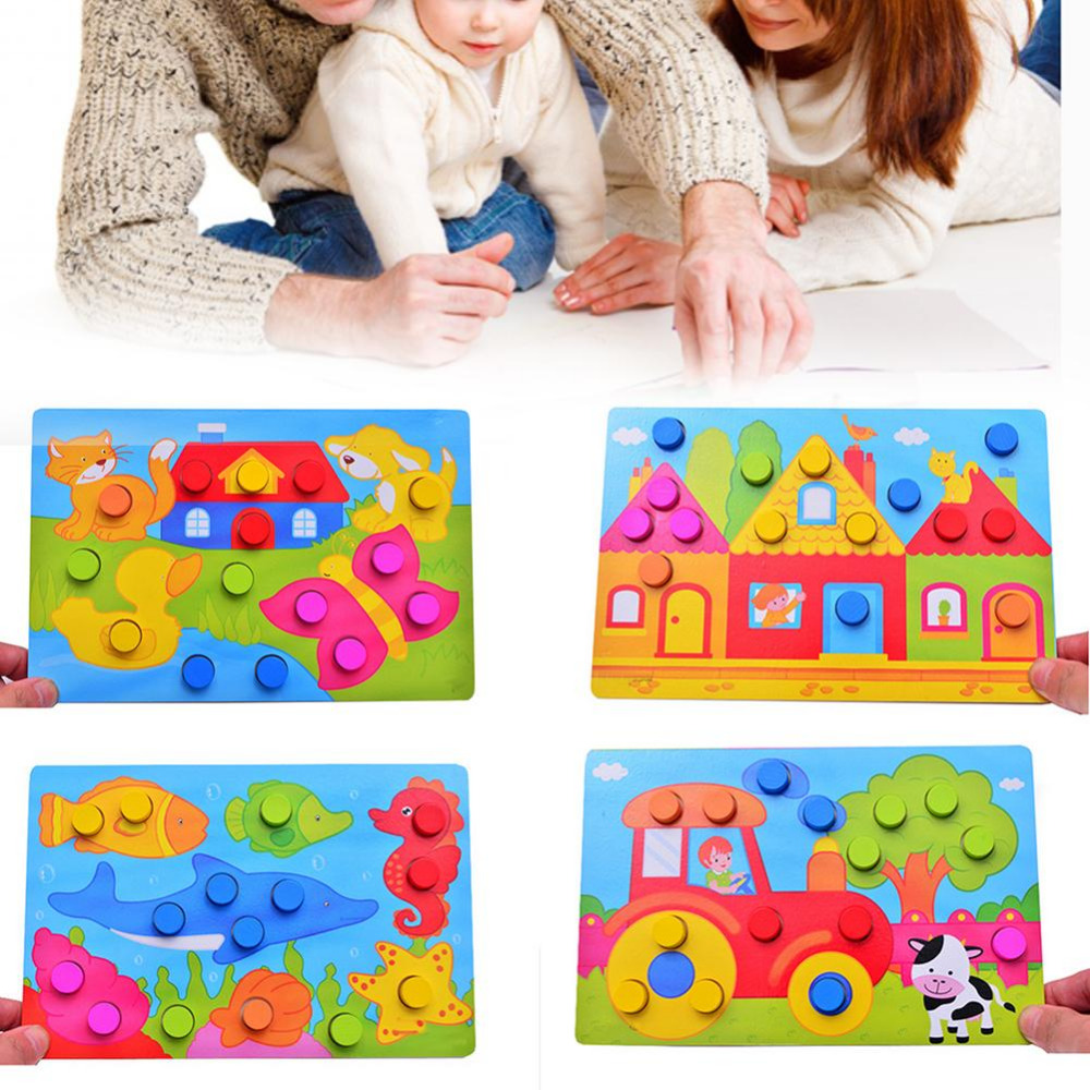 1 Set Montessory Wooden Tangram Jigsaw Board Educational Early Learning Cartoon Wood Puzzle Game Toys for