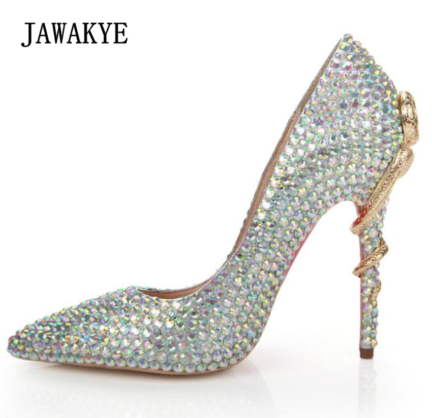 Silver Crystal Fashion Wedding Shoes Woman Rhinestone pearled Point toe Metal Snake High heel Shoes ladies Sexy Women Pumps цена 2017
