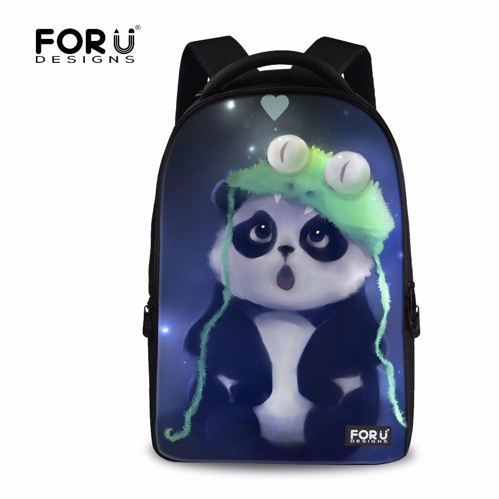 FORUDESIGNS 3D Cute Animal Panda Printing Casual School Backpacks For Student Women Travel Backpack Men Laptop Bagpack Mochila elviswords cute animal cat dog printing backpacks large college teenager backpack student school backbag casual travel mochila
