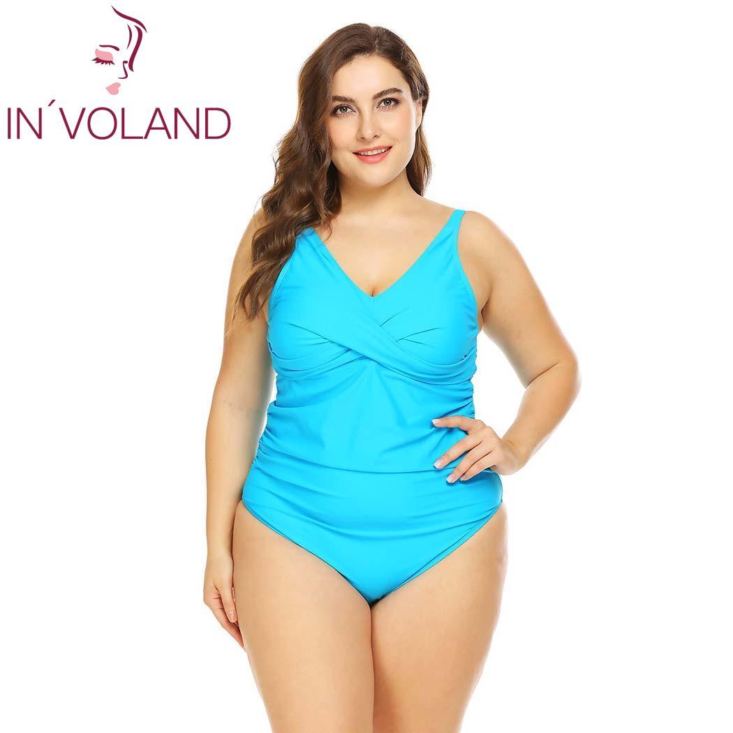 IN'VOLAND Plus La Taille Femmes Combinaisons XL-5XL Sexy Maillots De Bain Beachwear Mince Ruché Barboteuse Surdimensionné Une Pièce Combishort Grande Taille