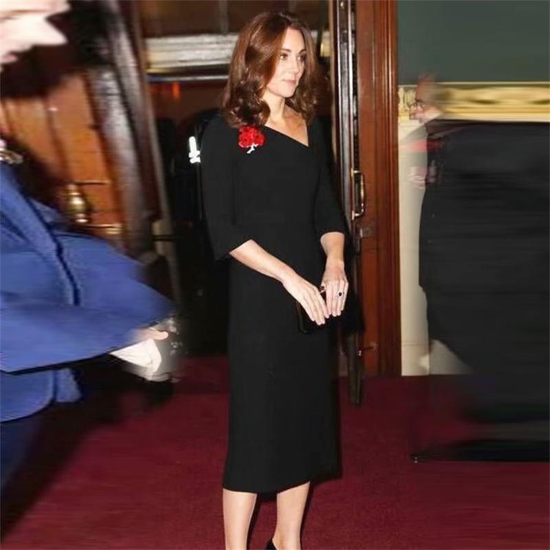 Princess Kate Middleton Dress 2019 Woman dress Oblique Collar Flare Sleeve Solid Slim Elegant Midi Dresses