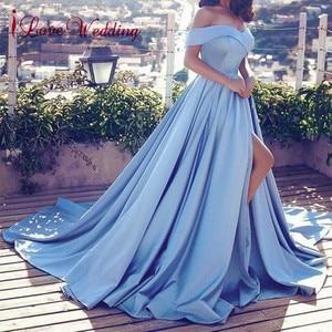 Image 4 - Heißer Verkauf 2020 Rosa Abendkleider Sexy V ausschnitt Weg Von der Schulter Satin EINE Linie Elegante Lange Prom Party Kleid vestido de Festa Curto
