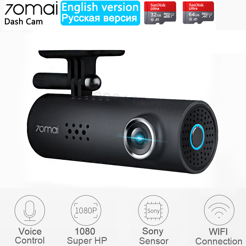 Xiaomi 70mai Dash Cam English Voice Control Car DVR 1080HD Night Vision Dashcam 70 mai Car Camera Auto Recorder WIFI Camera