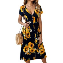Amazons hot-selling explosive new spring and summer fashion print sunflower button dress 800020