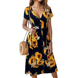 Amazon's hot-selling explosive new spring and summer fashion print sunflower button dress 800020