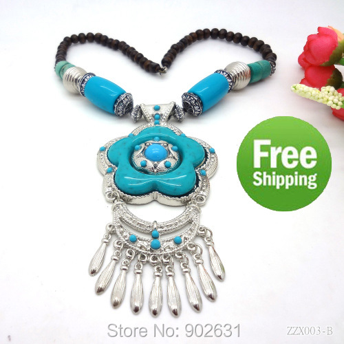 So Beautiful Free Shipping Retail 3 Colors novelty fashion jewelry flower resin turquoise stone women tibetan silver necklaces