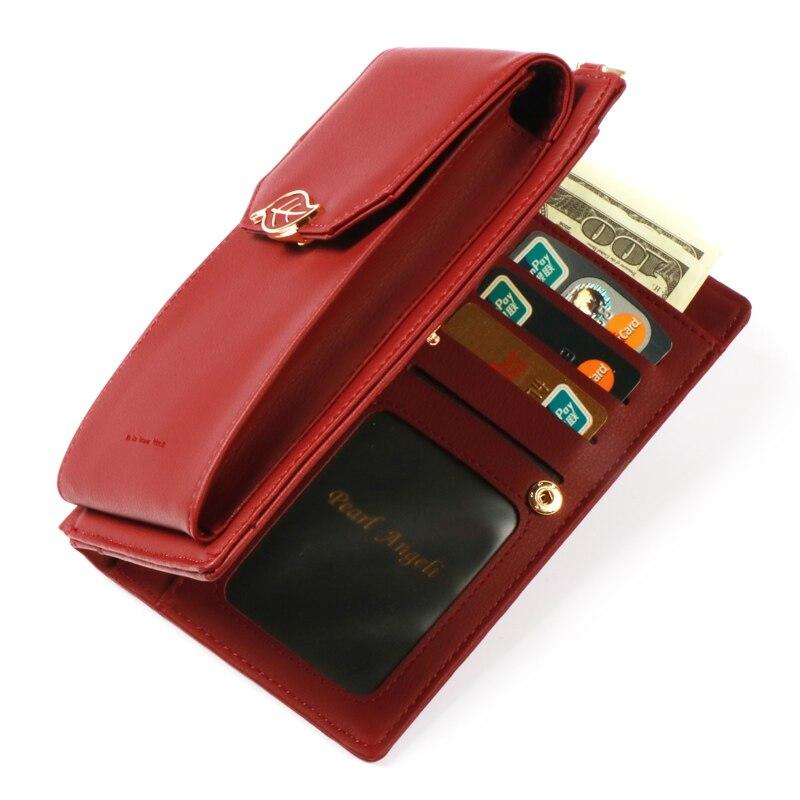 Pearl Angeli Luxury Wallet Kvinnliga Leaf Hasp Coin Handväska - Plånböcker - Foto 5