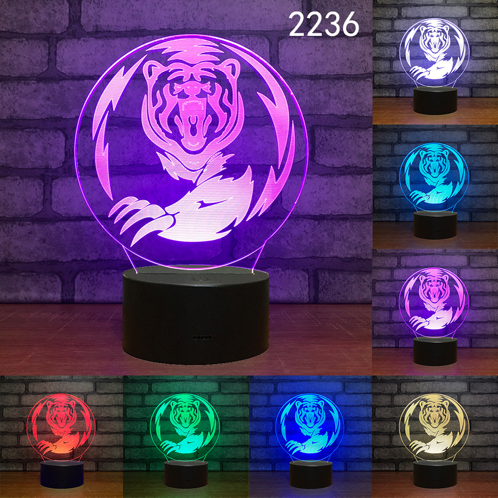 Elephant Tiger Deer Cat Wolf 7 Colors Light for Home Decoration Lamp Amazing Visualization Optical Illusion 3D LED Night Lights