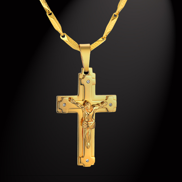 Big Stainless Steel Necklace Chain 4 Size Gold Color Christian