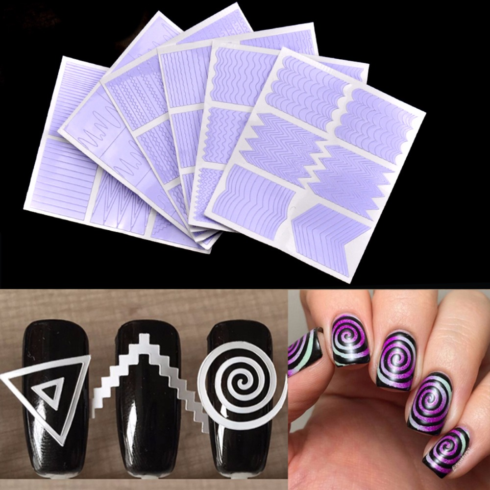 Biutee 12pcs/set Nail Art Guide Tips Hollow Stencils Sticker French Manicure Template 3D Vinyls Decals Form Styling Tool 10pcs nail art stamping printing skull style stainless steel stamp for diy manicure template stencils jh461 10pcs